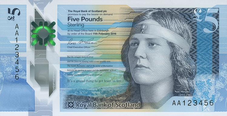 blue colored scottish banknote with portrait of Nan Shepherd