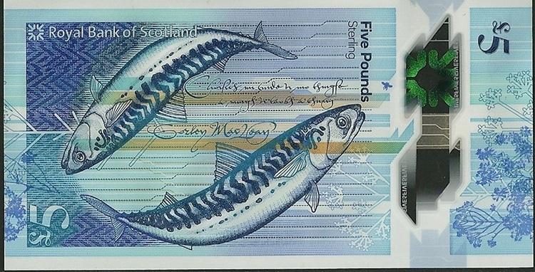 Nuevo billete de Escocia con dos caballas