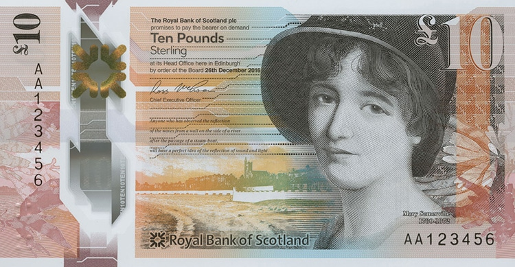 orange and red colored scottish banknote featuring portrait of Mary Somerville