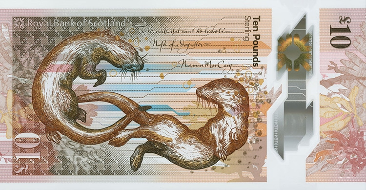 orange and red colored scottish banknote featuring illustration of otters