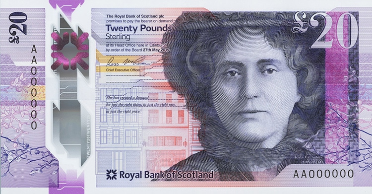 purple colored scottish banknote featuring portrait of Kate Cranston