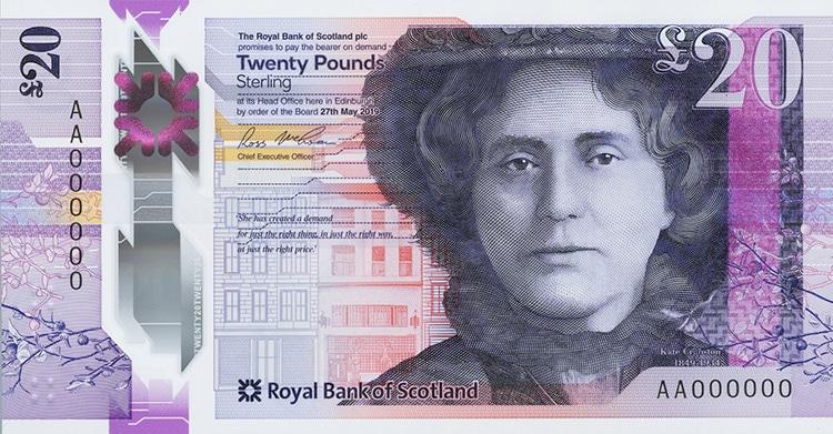 Billete de Escocia con el retrato de Kate Cranston