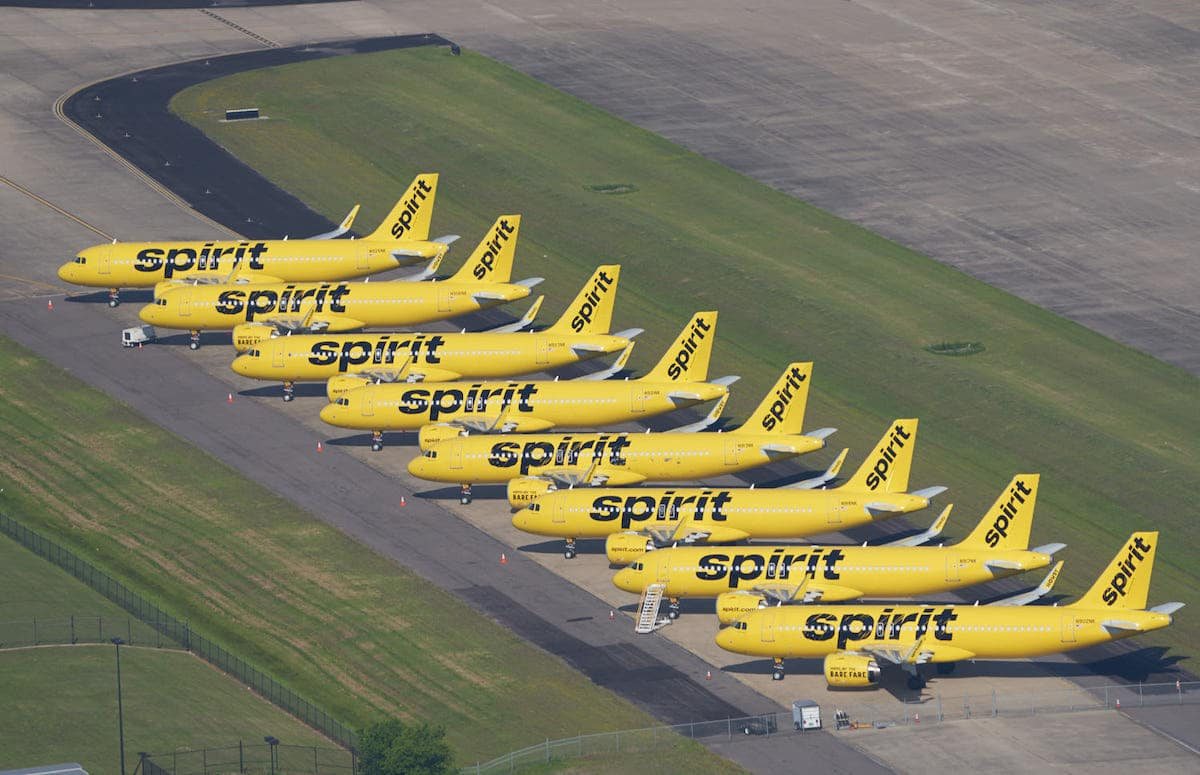 Spirit Airlines Planes Grounded During Coronavirus at the Fort Worth Alliance Airport