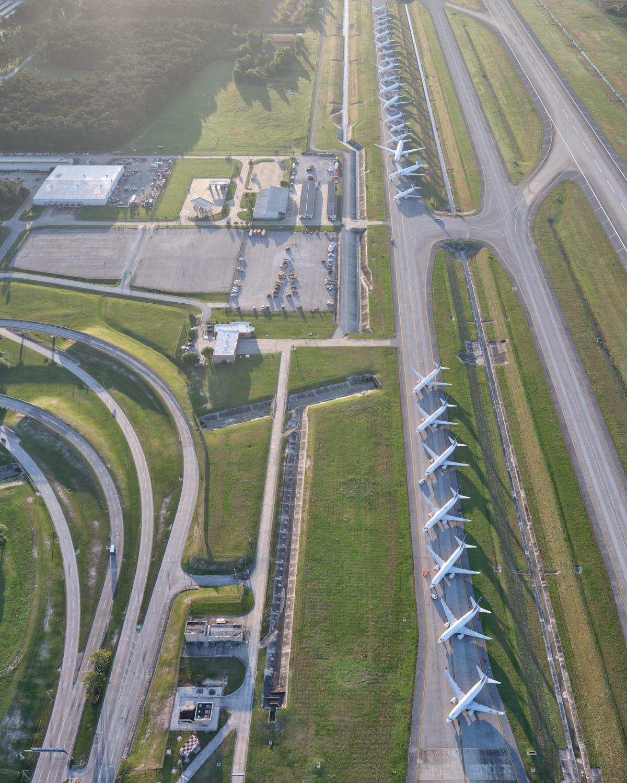 Aviones en tierra en el aeropuerto intercontinental George Bush, Houston, debido al coronavirus