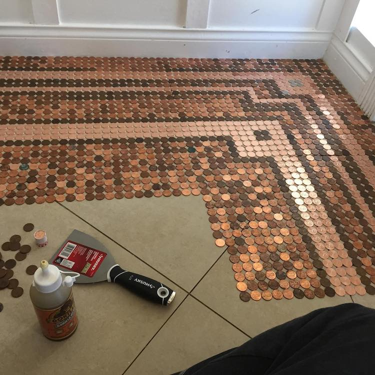 Jeweler Creates Her Own Diy Penny Floor Using 7 500 Pennies