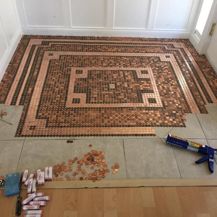 Copper Penny Floor DIY