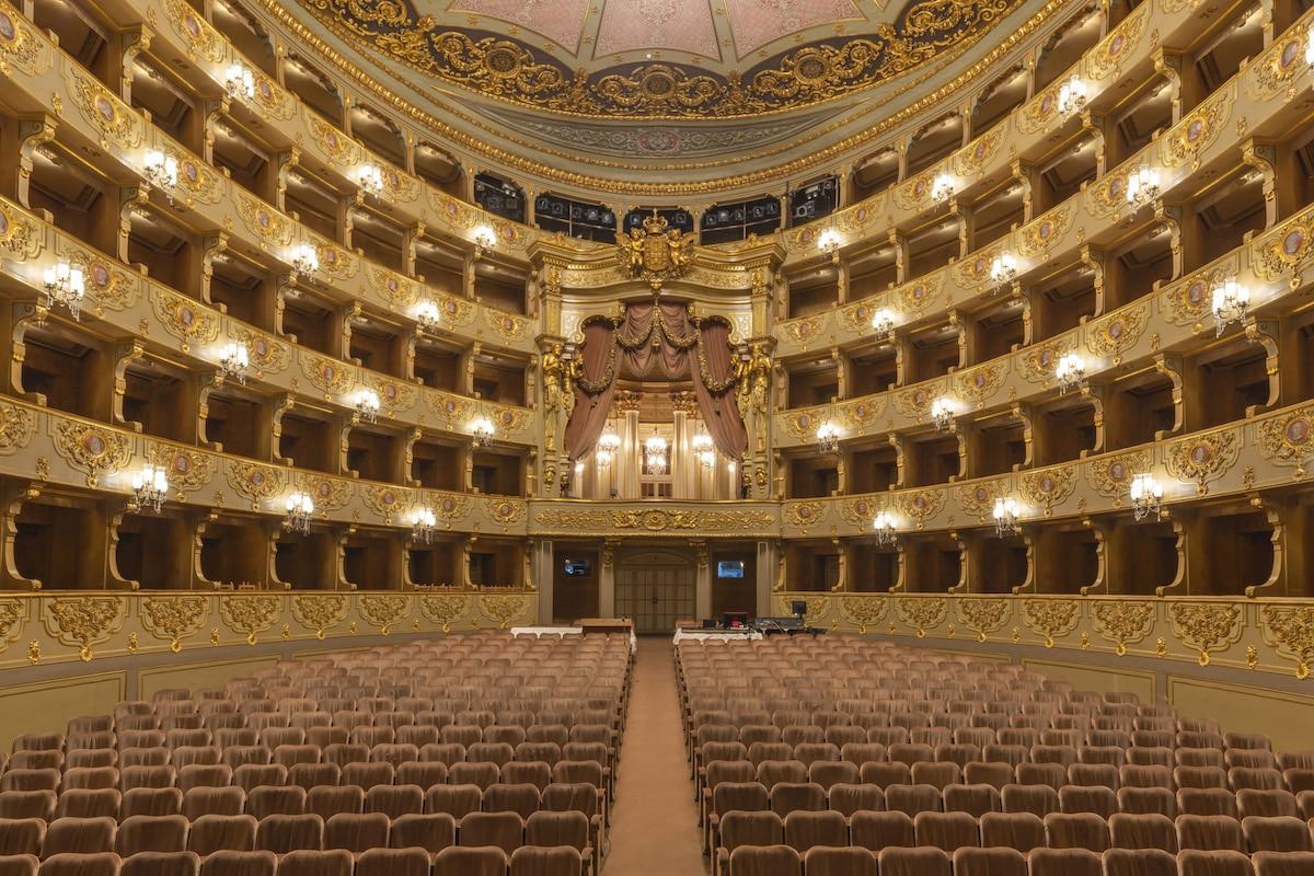 Interior of the National Theatre of São Carlos, Lisbon, Portugal