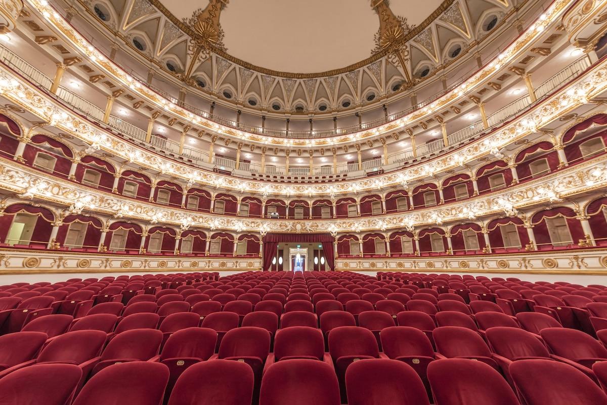 Interior of Teatro Petruzzelli, Bari, Italy