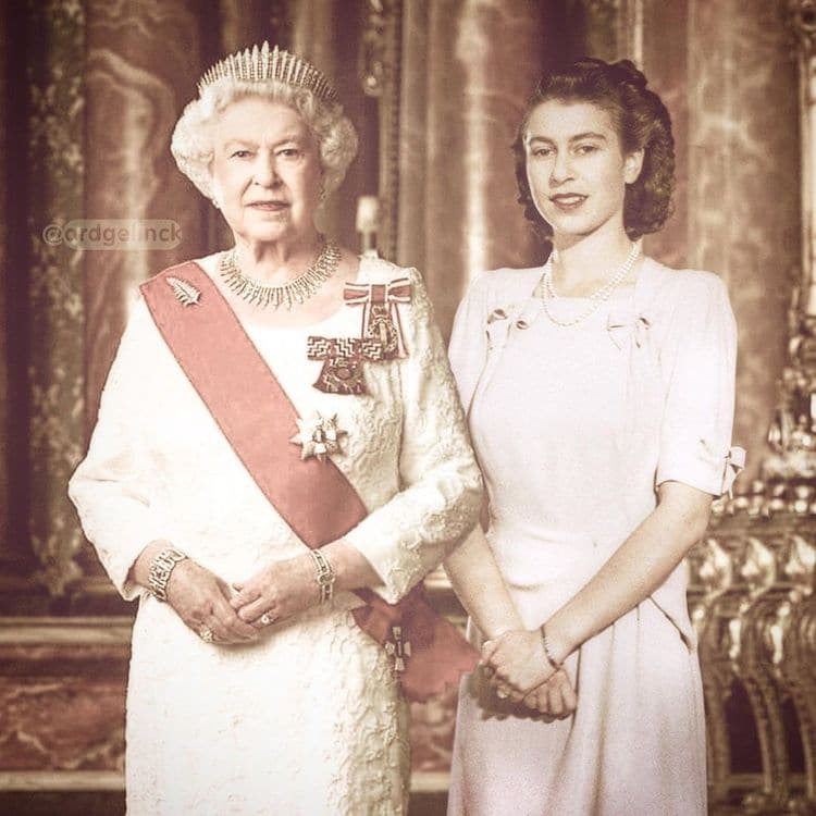 La reina ISabel II antes y después