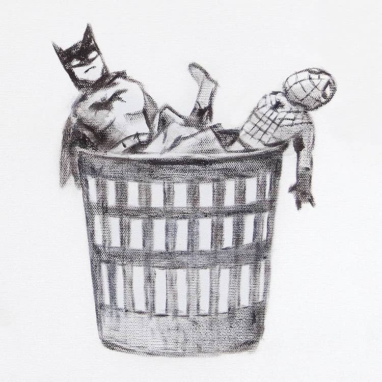 Batman and Spiderman Toys in Basket in Banksy's Game Changer