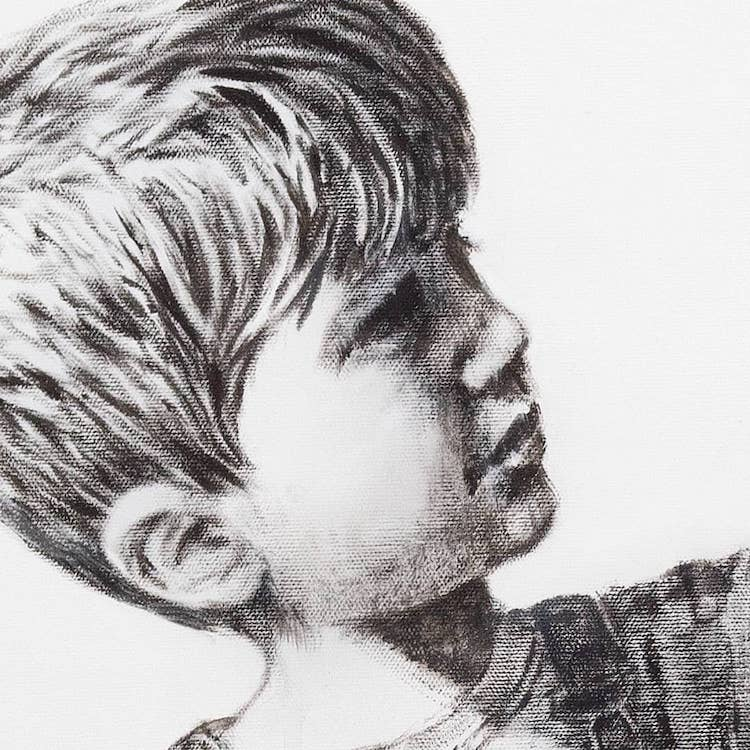 Close Up of Little Boy's Face in Banksy's Game Changer Artwork