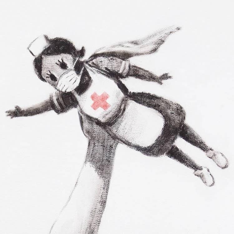 Detail of NHS Nurse in Banksy's Game Changer