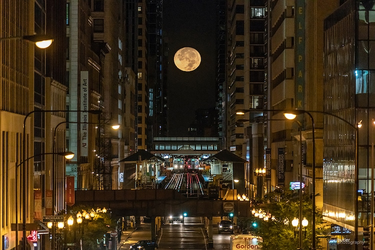 Chicago at Night with a Full Moon