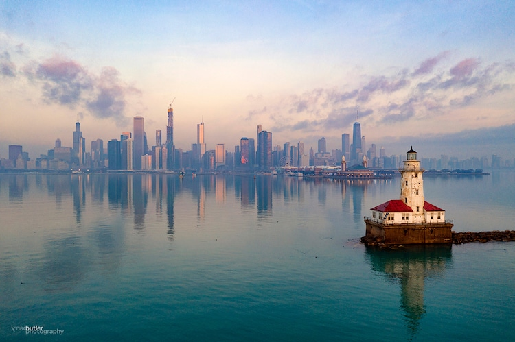 Chicago City Skyline Over Lake