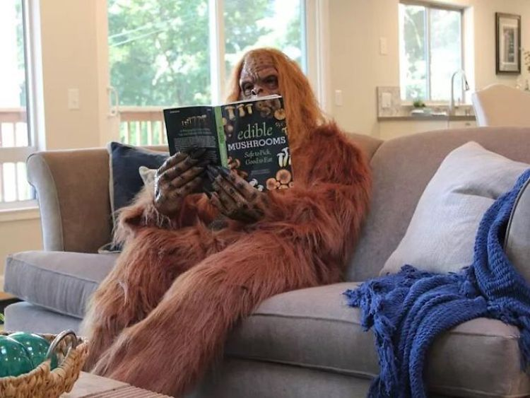pie grande monstruo leyendo