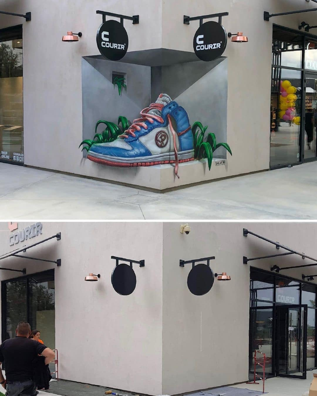 Optical Illusion of a Sneaker Painted on a Street Corner