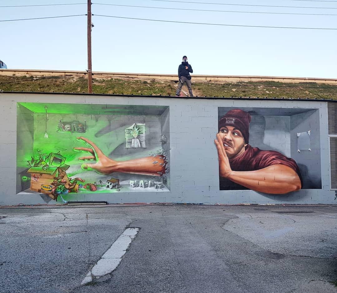 mural de ilusion optica por Braga Last One