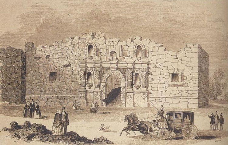 1854 Drawing of The Alamo Mission