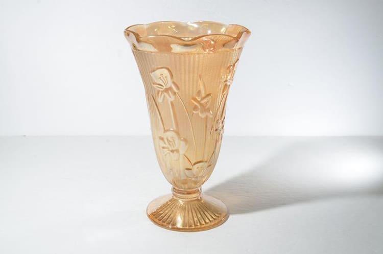 Iris and Herringbone Depression Glass Vase