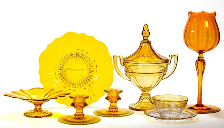 Assortment of Amber Depression Glass sold by Jeffrey S. Evans and Associates