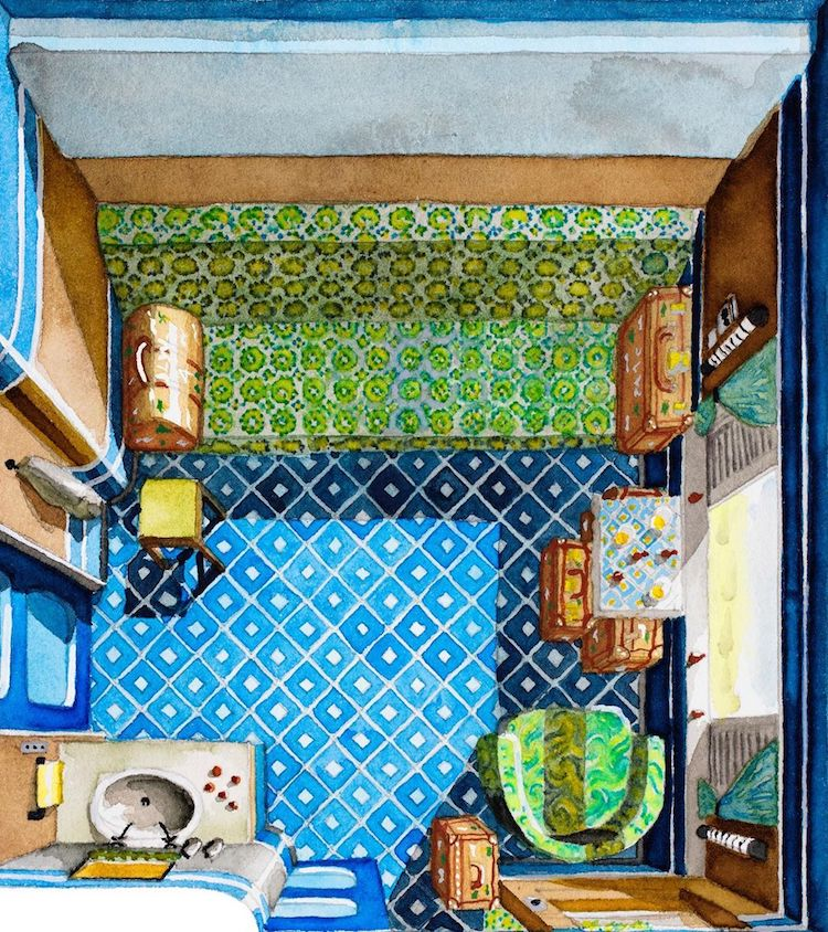 Illustrated Floor Plan of Darjeeling Limited by Floor Plan Croissant