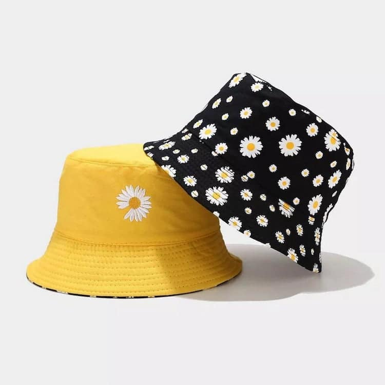 Daisy Embroidered Bucket Hat