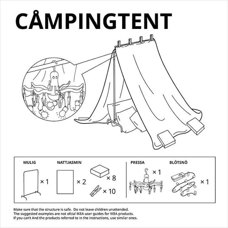 Fuerte de sábanas con muebles de IKEA