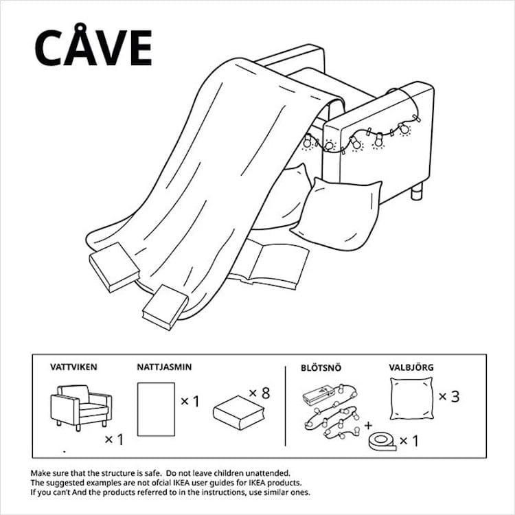 Fuerte de almohadas con muebles de IKEA