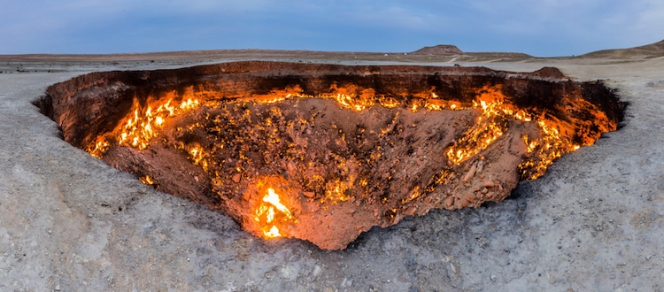 Close View of Turkemistan's Gates of Hell Fire Crater