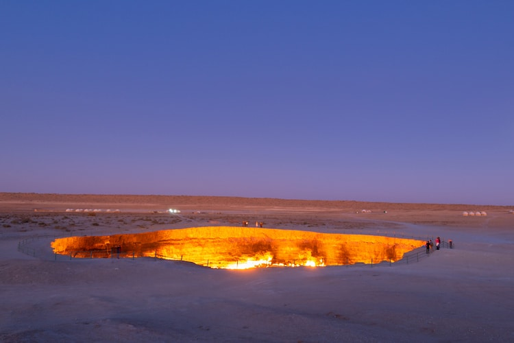 Darvaza Crater at Night