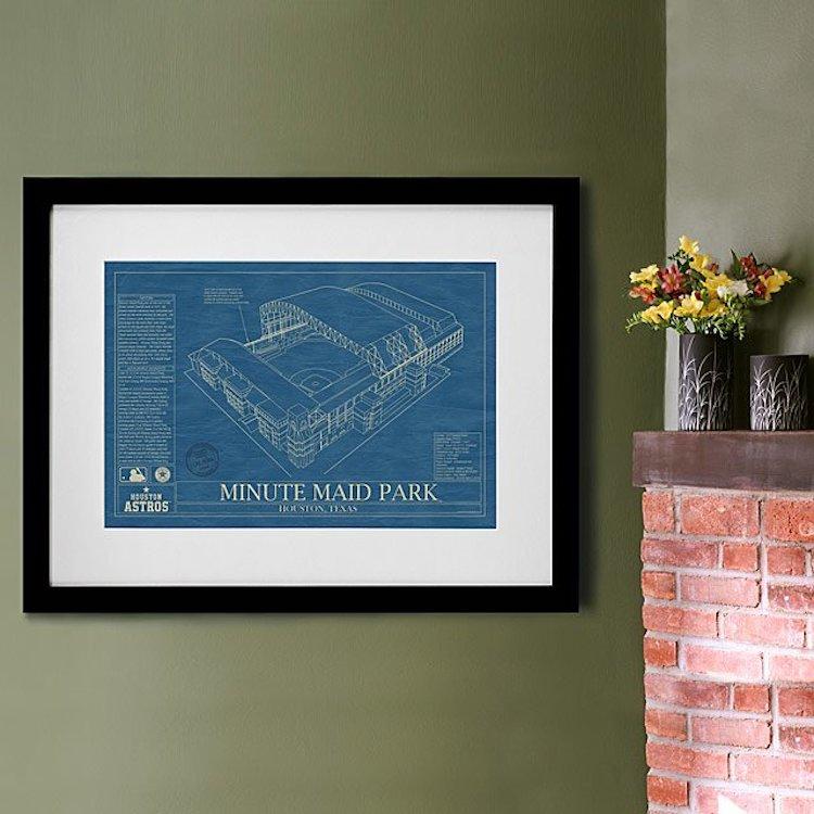Baseball Stadium Blueprint Poster