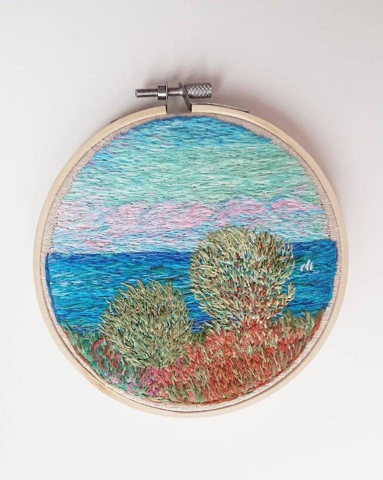bordados de paisajes por Ludmila Perevalova