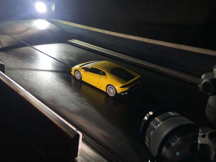 Scale Model Car on Treadmill for Photo Shoot