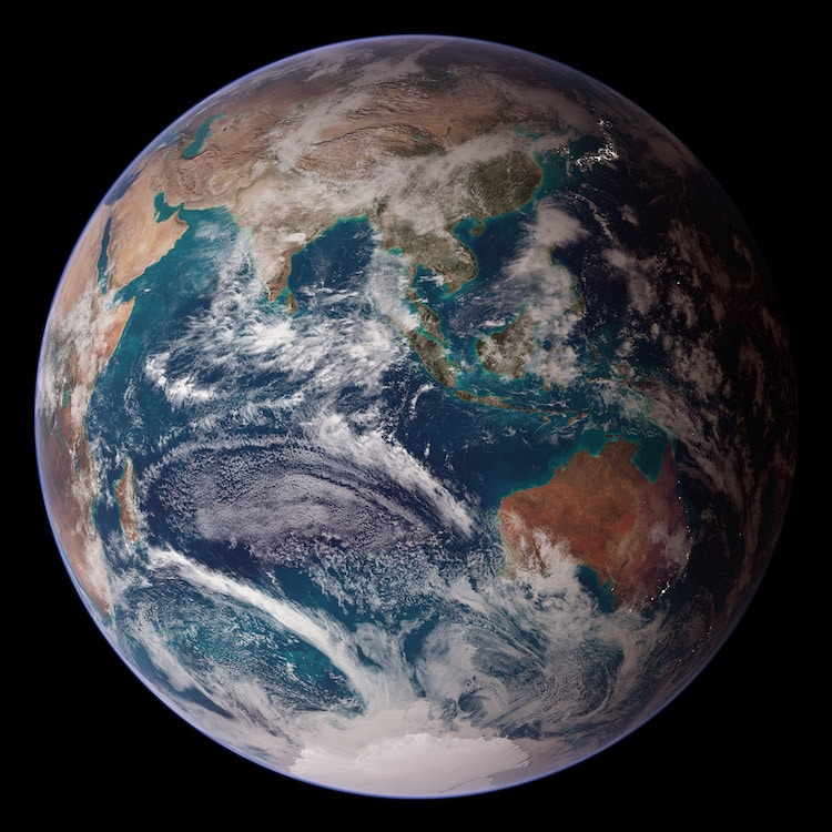 Composite Photo of Earth and its Surfaces