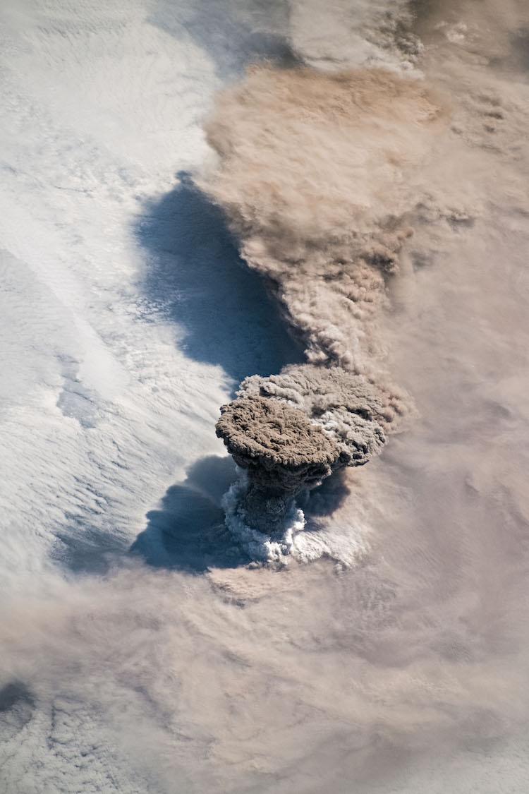 Raikoke Volcano Erupting