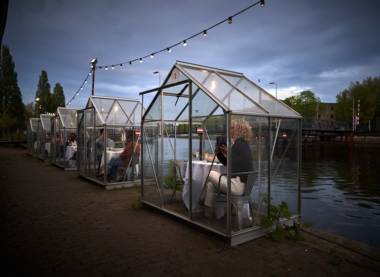 Restaurant with Mini Greenhouses