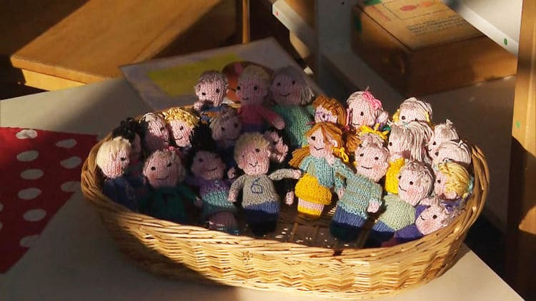 Teacher Created Knitted Dolls of Her Students