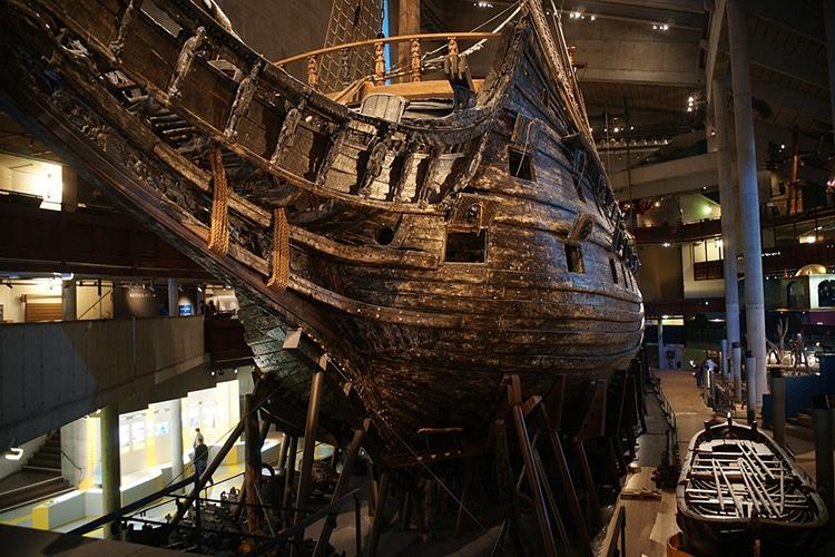 Intact Wreckage of the Swedish Warship Vasa at the Vasa Museum