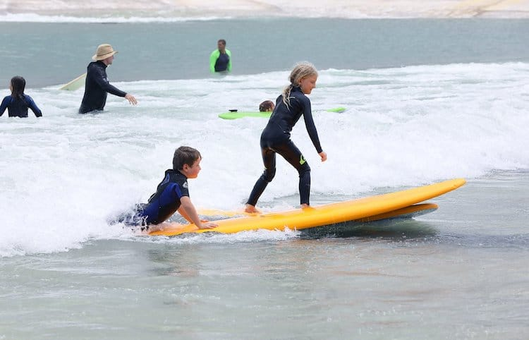 Children Learning to Surf in Surf Lakes Wave Pool