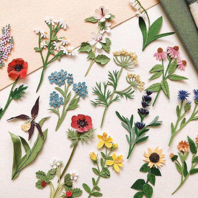 flores de papel por Tania Lissova