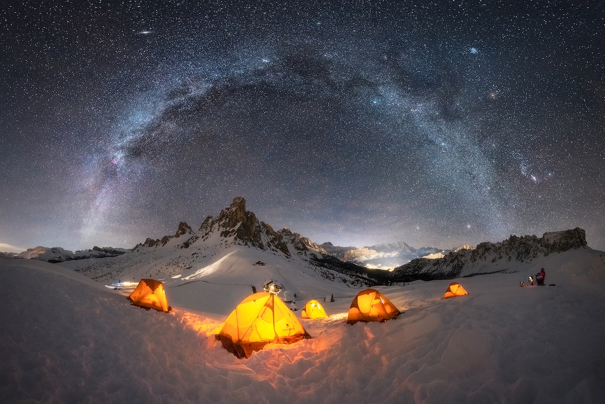 Milky Way Over Campsite in the Dolomites