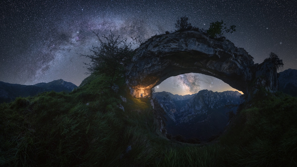 Milky Way Over the Picos de Europa Mountain Range in Spain