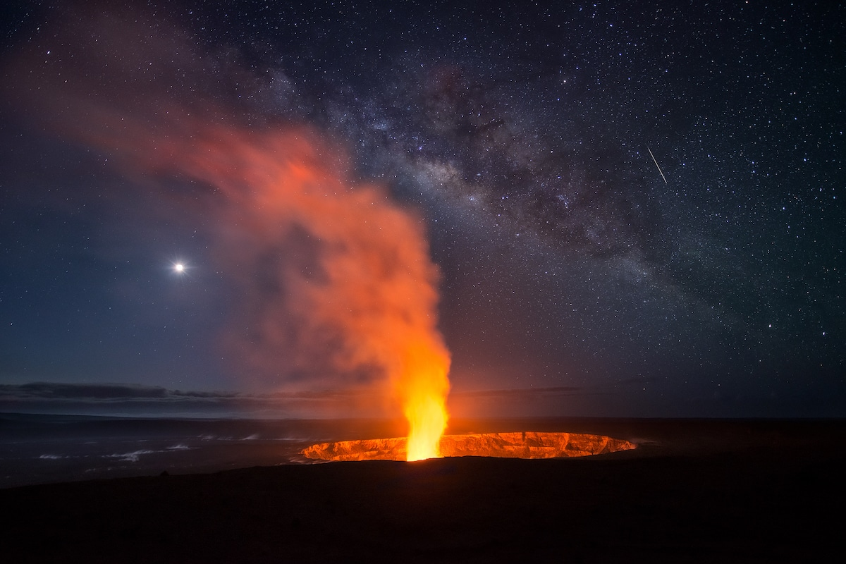 Milky Way Over the Halema'uma'u Crater in Hawaii