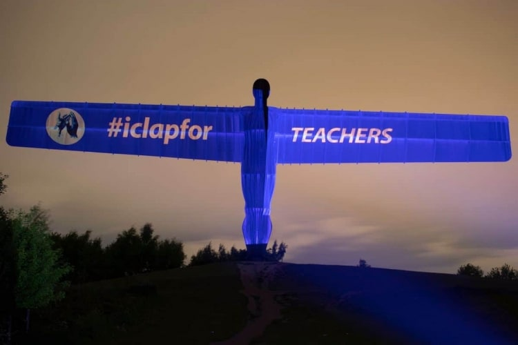 I Clap For Teachers on Angel of the North
