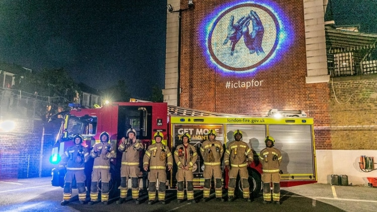 Firefirghters with I Clap For Projection