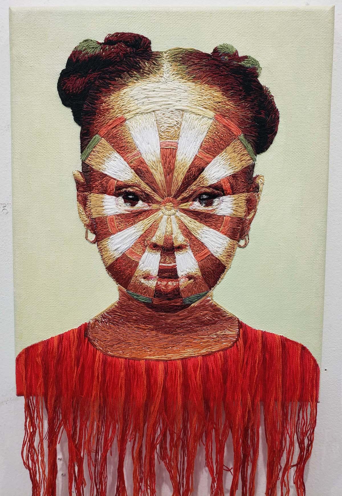 Mixed Media Portrait of a Black Girl by Nneka Jones