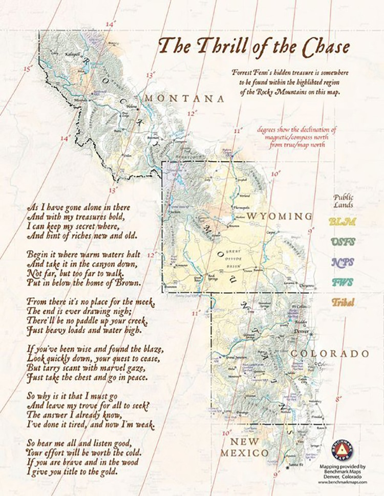 poema del tesoro de Forrest Fenn