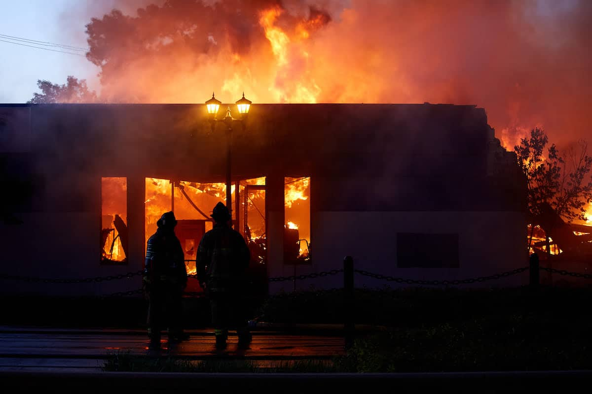 Burning Building After George Floyd Protests in St. Paul