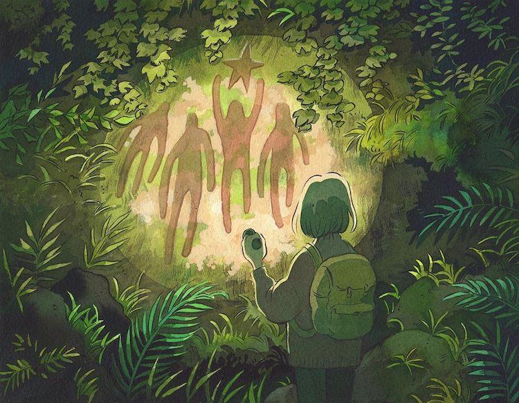 ilustracion inspirada en ghibli