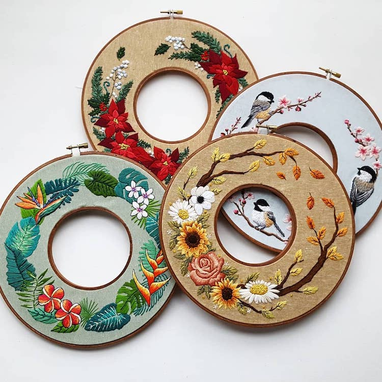 Embroidery Wreath Hoops by Jessica Long